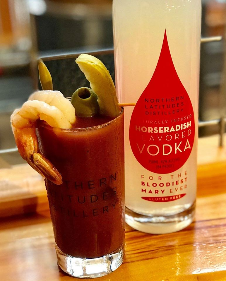 A bloody Mary from Northern Latitudes Distillery in Lake Leelanau, Michigan, one of the best bars on the Leelanau Peninsula.